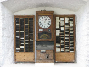 1889: One of the first commercial time clocks from Willard and Harlow Bundy of the Bundy Manufacturing Co. in Binghamton, NY