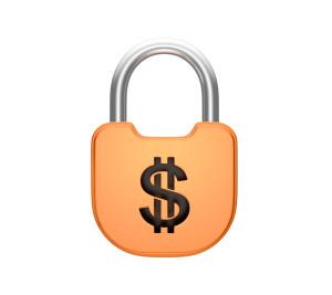 Locked padlock US dollar currency concept